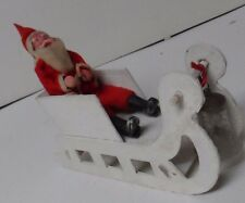 """1930""""s Japan Santa Claus w Composition Face Hands Feet - In Sled"""