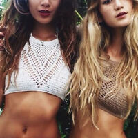 Women Crochet Knit Bra Boho Beach Bikini Halter Cami Crop Top Bathing Slim Plain