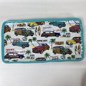 Tommy Bahama Vintage Car Melamine Turquoise Appetizer Snack Platter Tray Large