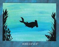 Original ACEO - Ocean - miniature acrylic painting, not framed