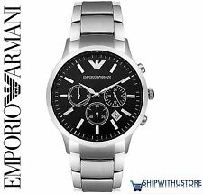NEW Emporio Armani Mens AR2434 Black Dial Silver Strap Chronograph Wrist Watch