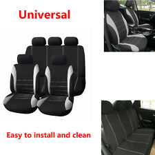 1 Set of 9pcs Gray+Black High quality Durable Car Seat Cover Front Rear Headrest