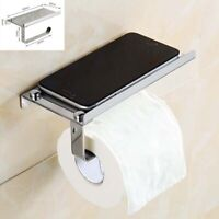Wall Mounted Stainless Steel Toilet Paper Mobile Phone Holder with Shelf
