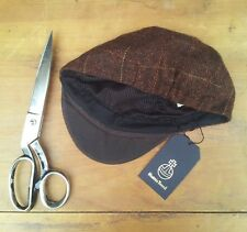 Unique Harris Tweed Cycling Cap (traditional brown plaid pattern)