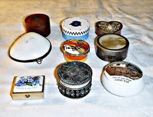 COOL VINTAGE COLLECTION BOXES CHINA METAL WOOD SHELL HATBOX HEART CLARICE CLIFF