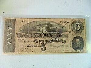 1864 $5.00 Richmond Confederate States of America Note