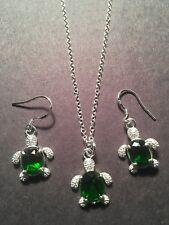TURTLE-Tortoise EMERALD GREEN Zircon Silver Earrings & Pendant/NECKLACE-N7800