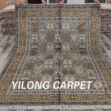 YILONG 6'x9' Hand Knotted Area Rugs Decorative Handmade Silk Carpet Y298C