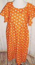VINTAGE Orange Mod Boho atomic Print lined dress sequin applique Sz L Handmade?
