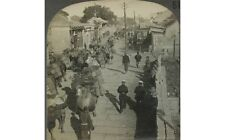 BUSY STREET OF PEKING CHINA WITH PEOPLE & CAMELS VINTAGE STEREOVIEW