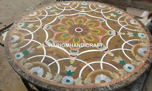 """36"""" Marble Dinette Table Top Traditional Inlay Patio Restaurant Rare Decor E342"""