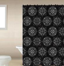 Medallion Black & Gray 13-Pc Bath Shower Curtain & Rings Bathroom Accessory Set