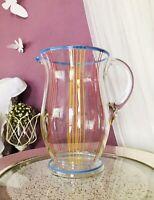 Vintage 50er Krug Glaskrug Kanne Karaffe Glas bunte Email-Streifen Abriss