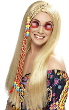 Hippy Party Wig, Blonde, Long with Coloured Beads (US IMPORT) COST-ACC NEW