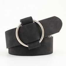 Women&Vintage Leather Belt Round Metal Buckle Without Pin Belts Jeans Strap Belt