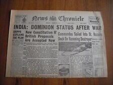 WW2 WARTIME NEWSPAPER - NEWS CHRONICLE - MARCH 30th 1942