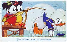 Rare Vintage Walt Disney Postcard: Mickey Mouse, Donald Duck, Fishing. 1930s.