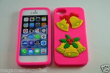 Pink Christmas Bells X-Mas iPhone SE 5S 5G 5 3D Silicone Gel Full Back Case NEW