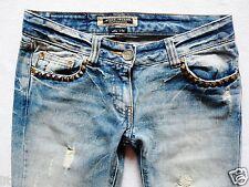 River Island Damas Jeans Tamaño 8 R Skinny Crop Tachuelas seguir tu sueño 28/23