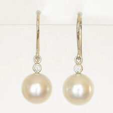 SOUTH SEA PEARL EARRINGS 10mm PEARLS GENUINE DIAMONDS 18K WHITE GOLD HOOKS NEW