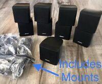 5 Bose Cube Speakers+Mounts 1 Center Single+4 Double Acoustimass Lifestyle Black