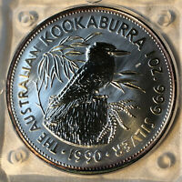 1990 Australian Kookaburra $5 Dollar 1 oz .999 Silver Coin Original Capsule #1