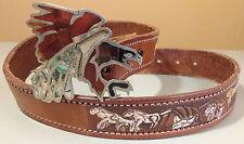 Leather Belt Size 34 Handmade Eagle Buckle Broken Mirror Art Horse Buggy Pattern