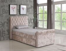 3ft / Single Crushed Velvet Fabric Bed Frame Selina Gold With Trundle