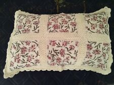 """Linen Lace Pillow Cover size 20""""x 30"""" color beige with rose design fabric"""