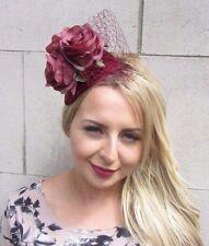 Burgundy Velvet Red Rose Flower Fascinator Net Hair Headband Wedding Races 3118