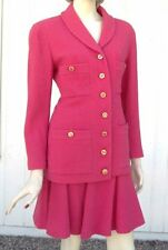NWT 1992 CHANEL Boutique Pink Tweed 2 Pc Skirt Suit SZ 42 CC Logo Buttons