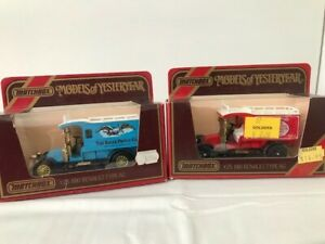 Selection of two (2) 1910 Renault Type AG Vans - Matchbox Models of Yesterday