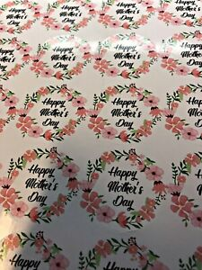 24 Floral Happy Mother's Day Gift Stickers Seal Label Glossy 45mm M1