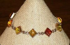 Beautiful STERLING SILVER 925 Square Multi-tone AMBER Link BRACELET
