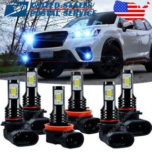 For Subaru Forester 2009-2013 LED Headlights High Low Beam Fog Light Bulb 6PCS