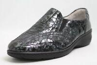 Waldläufer Schuhe grau Lackleder Vario Slipper Leder Wechselfußbett Schuhweite K