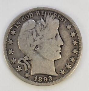 1893 Barber Half Dollar Choice Very Good Outstanding Eye Appeal