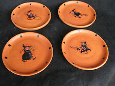 "NEW Made in USA 4pc Halloween Ceramic Plate 7"" From our ""Witch Is In"" Collection"