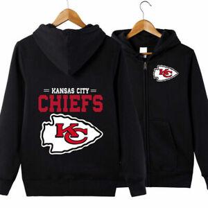 Kansas City Chiefs Hoodie Mens Casual Jacket Football Sweatshirt Full Zip Hooded
