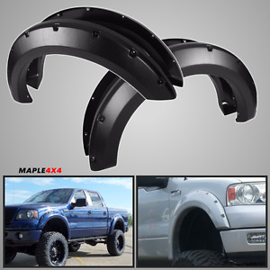 Maple4x4 2004-2008 Ford F150 Pocket Style Riveted Fender Flares,Black Paintable