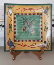 LENOX WINTER GREETINGS 14 INCH PLATTER WITH PINE CONES AND COLORFUL BIRDS