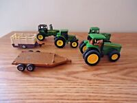 """Mixed Lot Of 4 John Deere Toy Tractors And 2 Trailers """" GREAT COLLECTIBLE LOT """""""