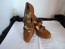 RMK LEE HIGH HEEL  LEATHER TAN SHOES NEW SIZE 6