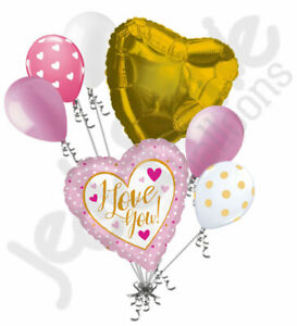 7 pc Pink & Gold Dots I Love You Heart Valentines Day Balloon Bouquet Be Mine