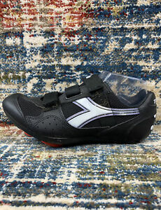 DIADORA Trivex II Black Leather Men 7 Women 8 / 40 2 Strap Cycling Shoes Look