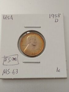 1958D 1 Cent United States  No Reserve! (Coin #970)