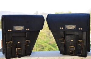 """12"""" Left & Right Black Saddlebags Saddle Panniers Motorcycle 2 Pouch Leather Bag"""