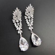 Shiny Silver Rhodium Plated Cubic Zirconia CZ Leaf Cluster Top Teardrop Earrings