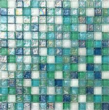 1 SQ M Blue Green Aqua Hammered Swirl Glass Bathroom Mosaic Tiles Sheets MT0052
