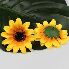 "20P Yellow 3"" Artificial Silk Gerbera Flower Daisy Sunflower Heads Wedding Decor"